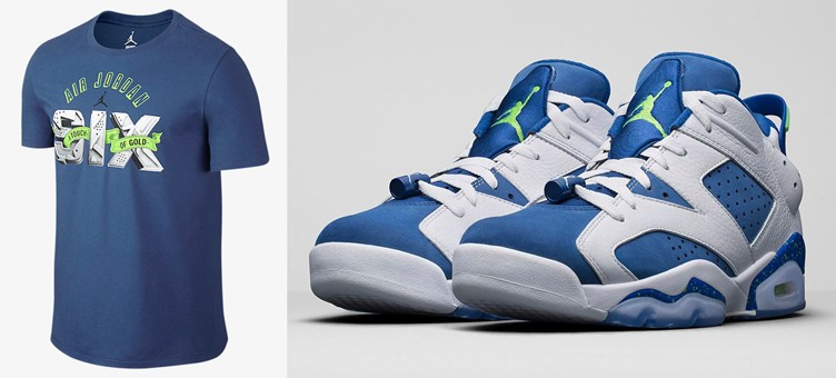 "Air Jordan 6 Low ""Ghost Green"" x Jordan AJ VI ""A Touch of Gold"" T-Shirt"