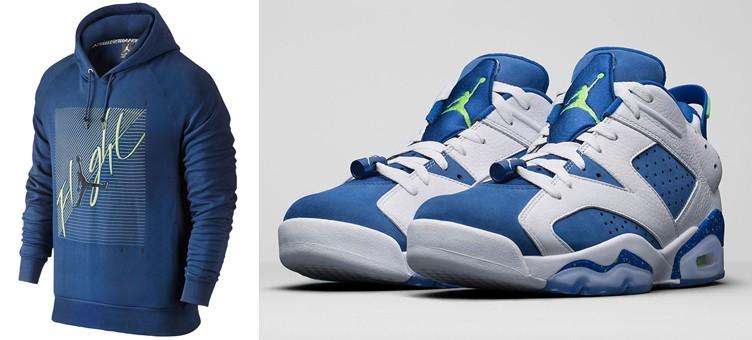 """Air Jordan 6 Low """"Insignia Blue"""" x Jordan Flight Brushed Pullover Hoodie"""