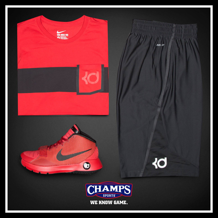 Nike kd trey 5 iii v8 red apparel hook ups for Kd t shirt nike