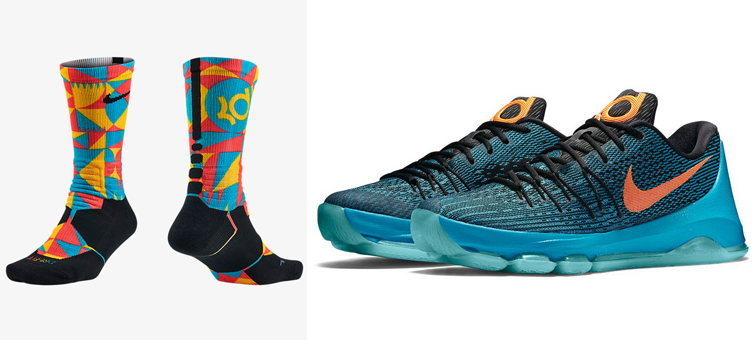 5d8ebf22ab10 Nike KD 8 OKC Road Game Socks