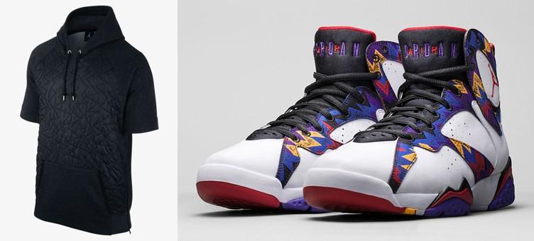 """Air Jordan 7 """"Nothing But Net"""" x Jordan AJ VII Quilted Fleece Pullover Hoodie"""