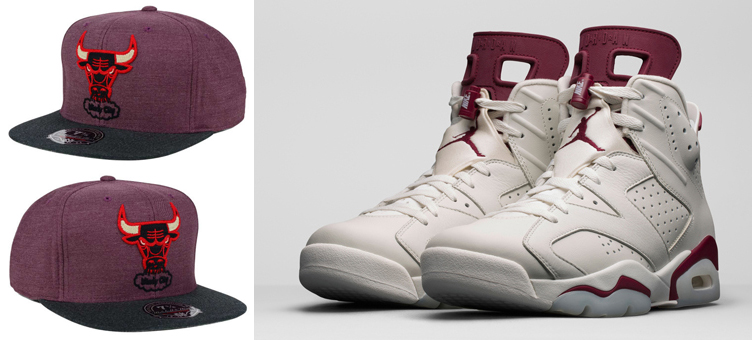 reputable site 6fbb9 3dbe8 Air Jordan 6 Maroon Chicago Bulls Hat Mitchell and Ness ...