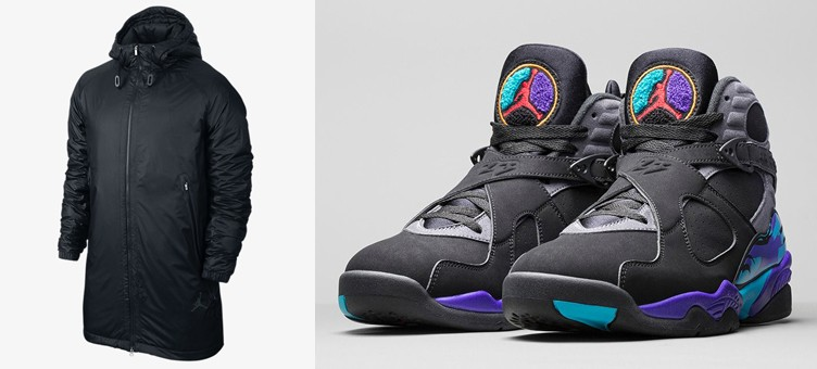 "Air Jordan 8 Retro ""Aqua"" x Jordan Fly Hooded Parka Jacket"