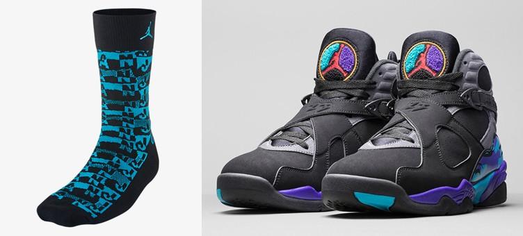 "outlet store 57768 4a7a6 Air Jordan 8 Retro ""Aqua"" x Jordan Air Sneaker Socks"