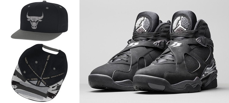 "Mitchell   Ness NBA Hooks Snapback Caps to Match the Air Jordan 8 Retro "" Chrome"" 5f1f4b14e6c7"