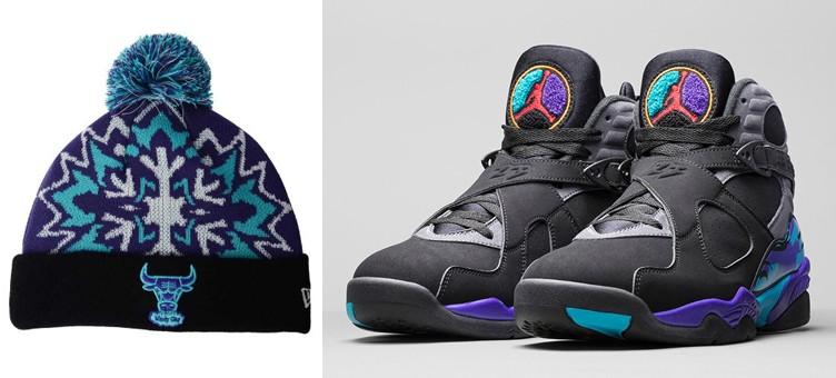 "Air Jordan 8 ""Aqua"" x New Era Chicago Bulls NBA Glowflake 2.0 Knit Hat"