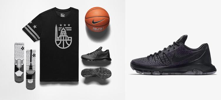 b1e5da8500a Nike KD 8 Blackout Triple Black Clothing