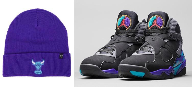 """dd456ba19d0 Air Jordan 8 """"Aqua"""" x 47 Brand Chicago Bulls NBA Haymaker Knit Hats"""