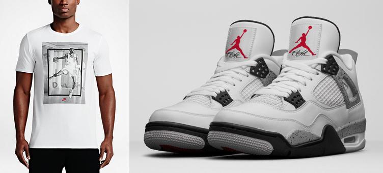 acb79387548e49 Air Jordan 4 White Cement Hangtime Shirt