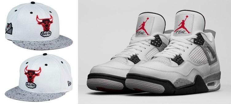 "Air Jordan 4 Retro ""Cement"" x New Era Chicago Bulls Sneaker Hook Up Hat"
