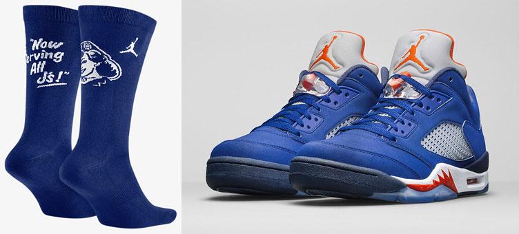 5ee3aa3805842 Air Jordan 5 Low Knicks Royal Blue Socks | SneakerFits.com