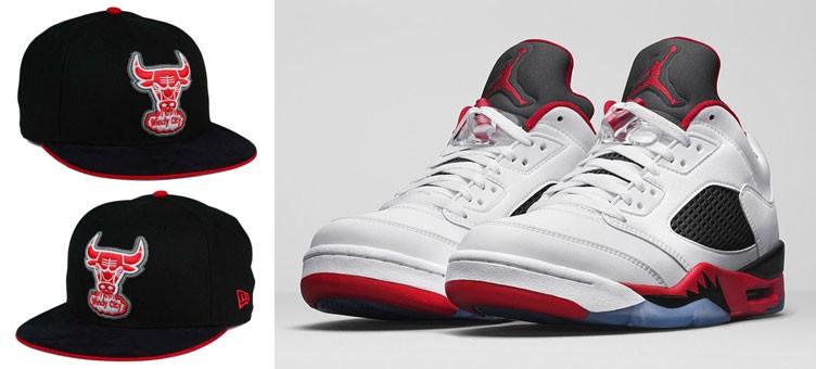 "Air Jordan 5 Low ""Fire Red"" x New Era Chicago Bulls Sneaker Hook Up Cap"