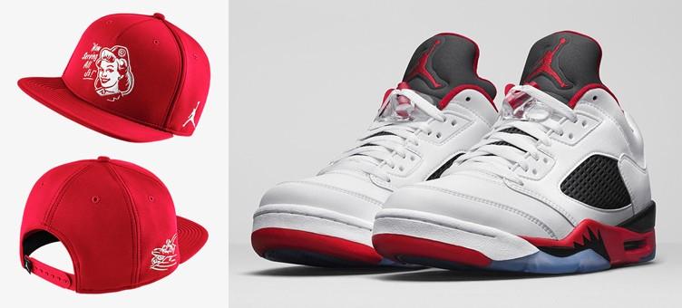 "Air Jordan 5 Low ""Fire Red"" x Jordan AJ V Low Snapback Hat"
