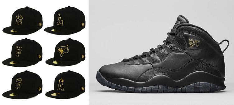 1f4926b7a66d93 Air Jordan 10 NYC New Era MLB Black Gold Hats