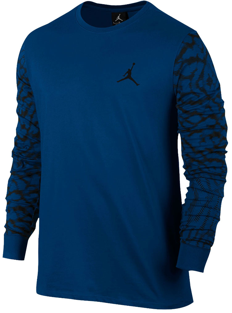 Jordan shirts to match the air jordan 12 french blue for Retro long sleeve t shirts