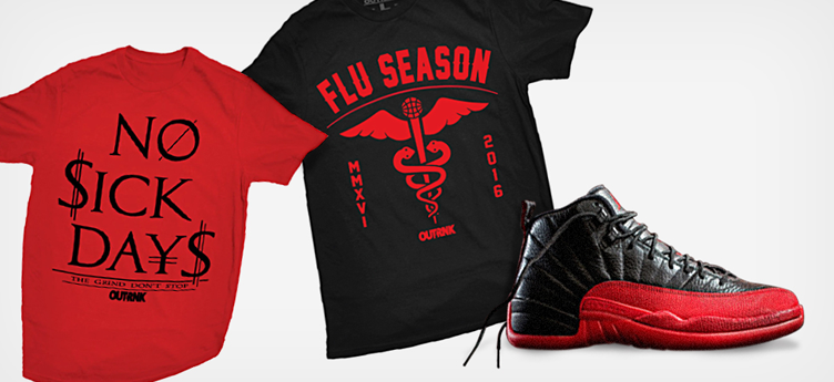 "OutRank Sneaker Shirts to Match the Air Jordan 12 Retro ""Flu Game"""