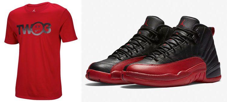 """7becfe6bc2e5 Air Jordan 12 """"Flu Game"""" x Jordan Retro 12 Two-3 T-Shirt (Red Colorway)"""