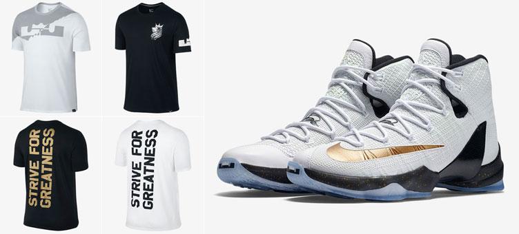 136a11b293e Nike LeBron 13 Elite Gold Shirts