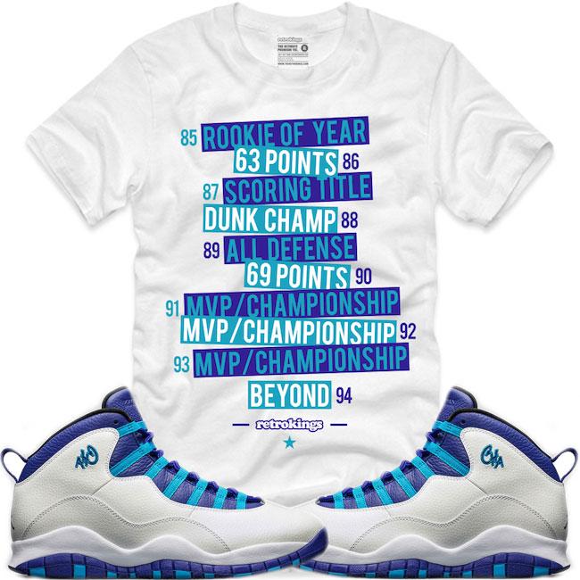 9cf1c023dc0caa Jordan 10 Charlotte Sneaker Shirts by Retro Kings