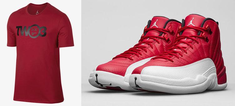 69c54d7a931 Air Jordan 12 Gym Red Shirt   SneakerFits.com
