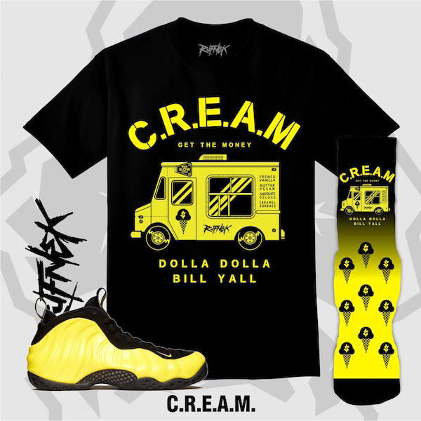 acb5ce6f63063 Wu Tang Yellow Nike Foamposite Outfits by Original RUFNEK ...