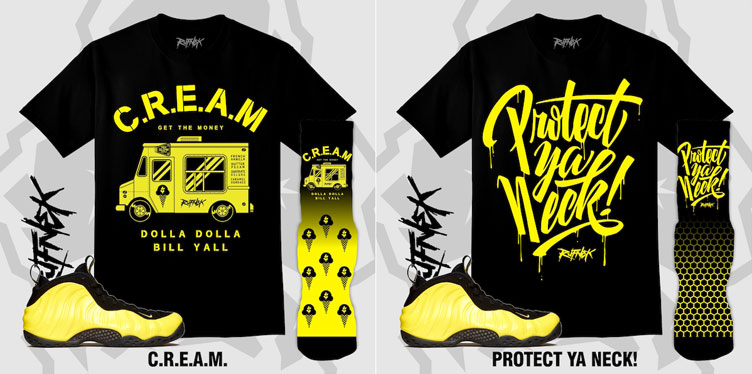 brand new 65345 117a8 Wu Tang Yellow Nike Foamposite Outfits by Original RUFNEK ...