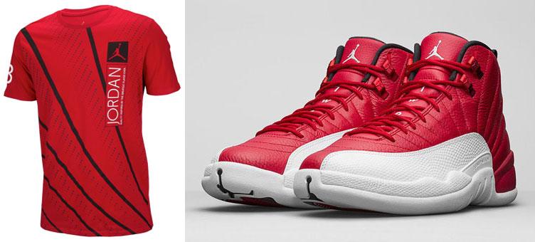 33cc4bf25241 Air Jordan 12 Lines Shirt to Match the Air Jordan 12 Gym Red ...