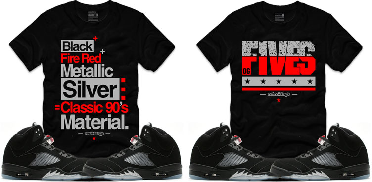 47122e167e8c Jordan 5 Black Metallic Silver Sneaker Shirts by Retro Kings ...