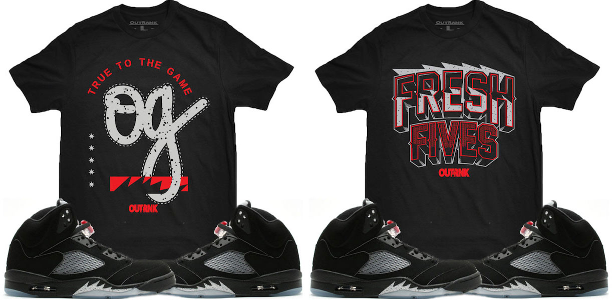 "4bbe42285ad14c OutRank Sneaker Shirts to Match the Air Jordan 5 Retro ""Black Metallic"""
