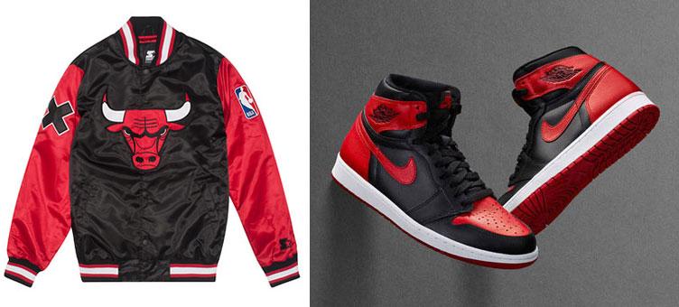 Air Jordan 1 Banned X Starter Chicago Bulls Jacket