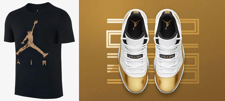 air jordan 11 low metallic gold black shirt sneakerfitscom