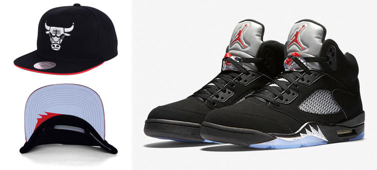 Air Jordan 5 Black Metallic Chicago Bulls Snapback Cap by Mitchell ... a1af23319c15