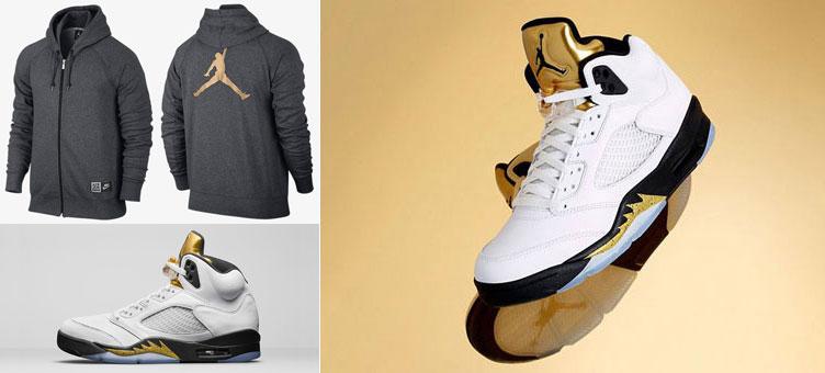 1845c5bdedb4 Air Jordan 5 Metallic Gold Hoodie