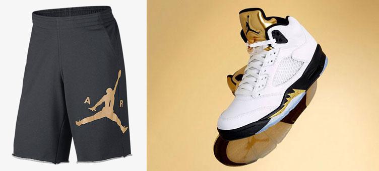 b8158af6c67b29 Air Jordan 5 Metallic Gold Shorts