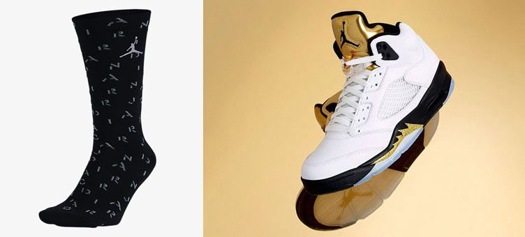 "b1b2797682c7f8 Air Jordan 5 Retro ""Metallic Gold"" x Jordan 5 Crew Socks"