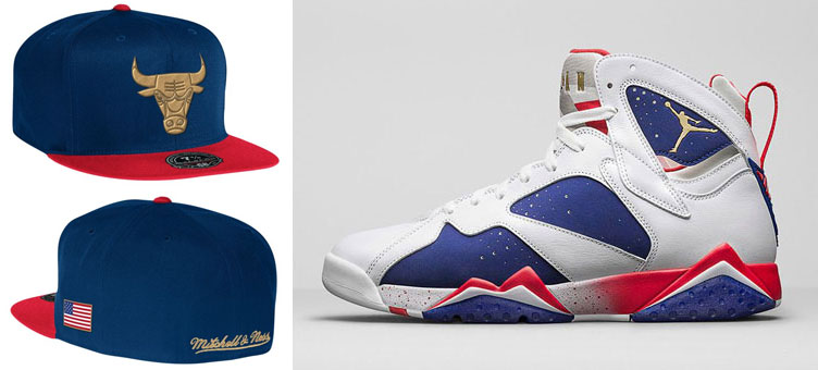 84694406bac Air Jordan 7 Olympic Alternate NBA Hats by Mitchell and Ness ...
