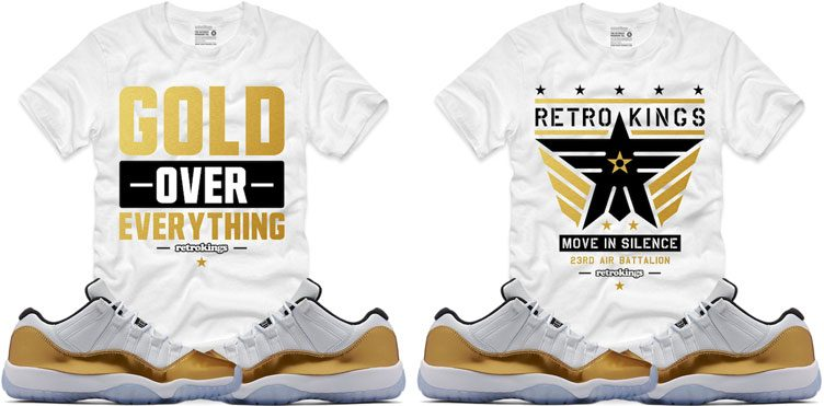 689b580f223d8e Jordan 11 Gold Closing Ceremony Sneaker Shirts by Retro Kings ...