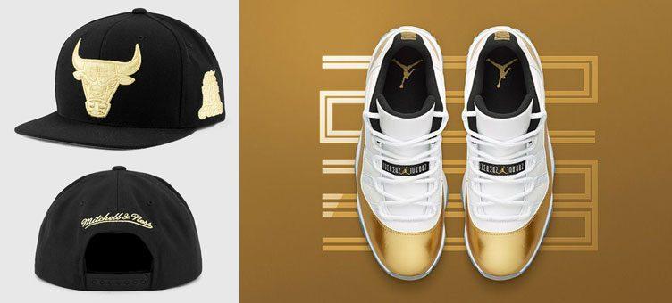 "7845be183e53 Air Jordan 11 Low ""Closing Ceremony"" x Mitchell   Ness Chicago Bulls  Metallic Gold Snapback Cap"