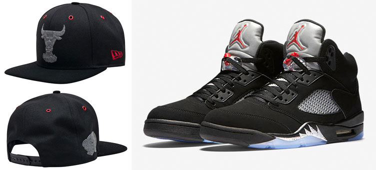 "0b378d48b3117 Air Jordan 5 OG ""Black Metallic"" x New Era Chicago Bulls Reflective Snapback  Hat"