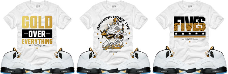 9af2c49f711b Jordan 5 Metallic Gold Sneaker Shirts by Retro Kings