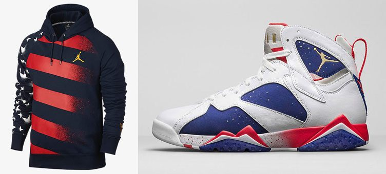 "watch 0ac9e b1a76 Air Jordan 7 Retro ""Olympic Alternate"" x Jordan AJ 7 Stars and Stripes  Hoodie"