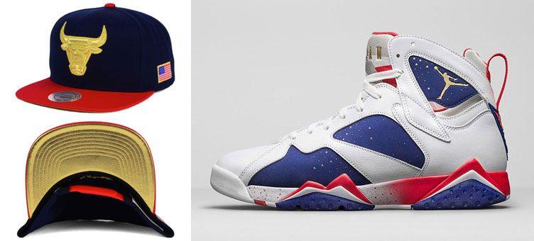 "new arrival 69970 6bb5d Air Jordan 7 Retro ""Olympic Alternate"" x Chicago Bulls Mitchell   Ness NBA  USA Snapback Cap"