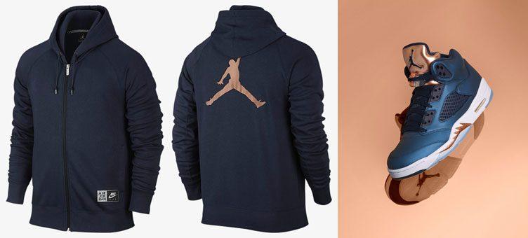 """Air Jordan 5 Retro """"Bronze"""" x Jordan AJ 5 Fleece Full-Zip Hoodie"""
