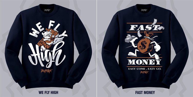"78ac53f52ba3f3 Original RUFNEK Sneaker Sweatshirts to Match the Air Jordan 5 Retro ""Bronze"""