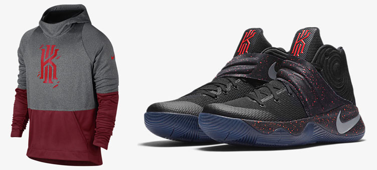 reputable site 40112 4f813 Nike Kyrie 2 Black Crimson Speckle Hoodie | SneakerFits.com