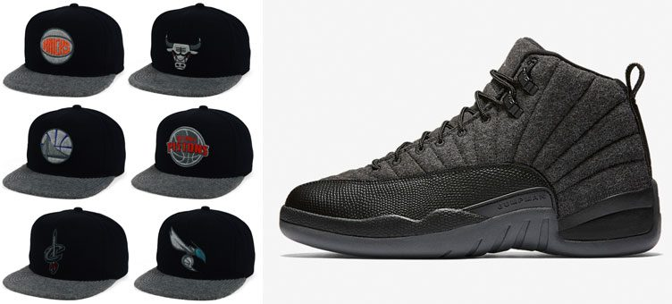 8451b444d97407 Air Jordan 12 Retro Wool x Mitchell   Ness Wool 2Tone Fitted NBA Team Hats