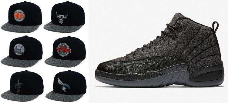 f51f044e8e7 Air Jordan 12 Retro Wool x Mitchell   Ness Wool 2Tone Fitted NBA Team Hats