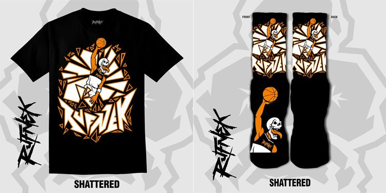 "05cfdb469372e2 Original RUFNEK Sneaker Shirts and Socks to Match the Air Jordan 1 Retro  ""Reverse Shattered Backboard"""