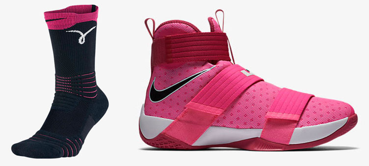 buy popular 94054 3a6db Nike LeBron Soldier Pink Kay Yow Shoes and Socks ...