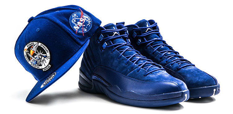 low priced be4e7 be9a7 Jordan 12 Blue Suede Snapback Cap Hook Up   SneakerFits.com
